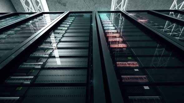Server Room With Flashing Technology Lights 4k