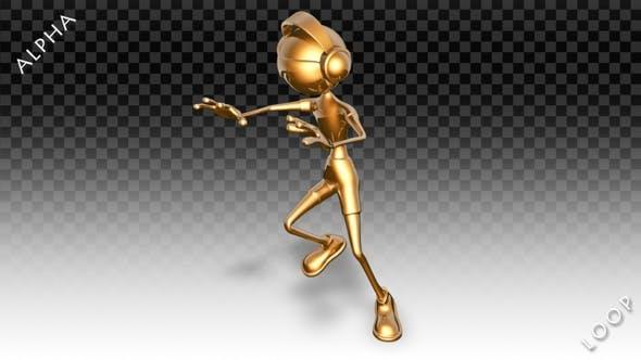 Thumbnail for 3D Gold Man - Cartoon Hip-Hop Dance