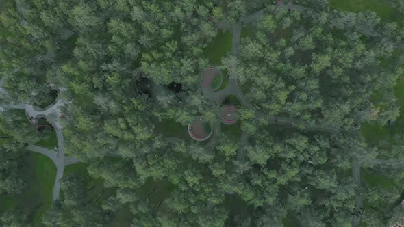 Thumbnail for City park with green trees and footpaths from bird's eye view.