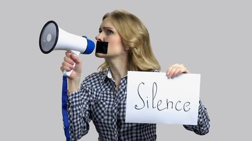 Silence Concept Woman with Megaphone