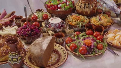 Ukrainian National Cuisine Table With Dishes