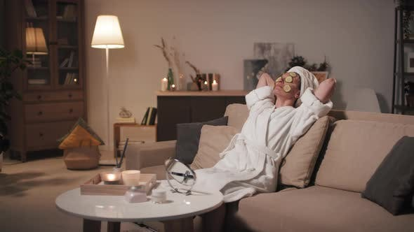 Woman Relaxing Doing Skincare
