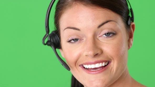 Thumbnail for Closeup portrait of positive female telemarketer