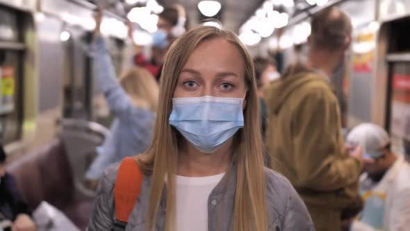 Thumbnail for Portrait of Woman in Medical Mask Posing in Subway