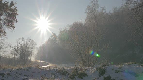Thumbnail for Early morning sun over park hill Kraljevica in Eastern Serbia 4K 3840X2160 UHD footage - Sun over fo