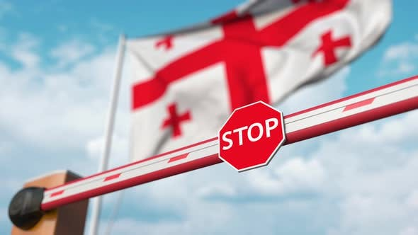 Thumbnail for Opening Barrier with Stop Sign Against the Georgian Flag
