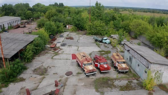Drone View of Rescue Vehicles in Motor Depot