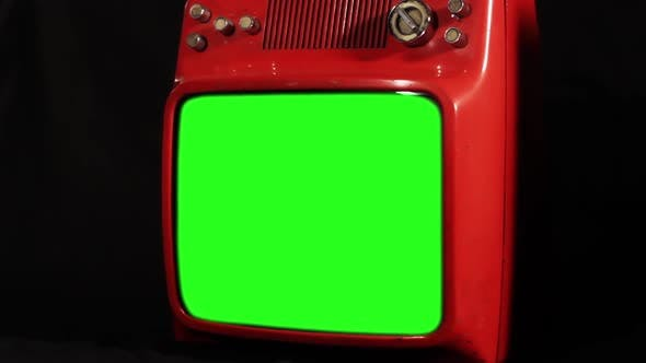 Thumbnail for Retro Old Red TV Receiver with Green Screen.