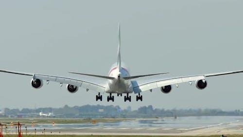 Commercial Airbus A380 Jumbo Jet Plane Landing