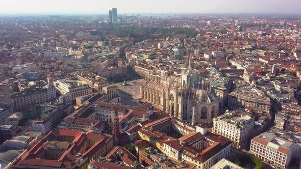 Thumbnail for Aerial Drone Footage View of Cathedral Dome in Milan Italy