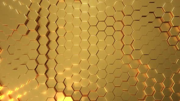 Golden Hexagons Background V2
