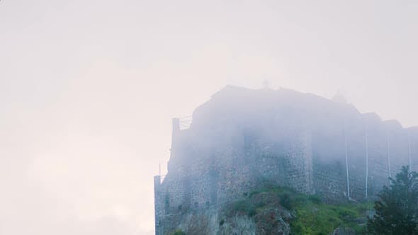 Thumbnail for Old Orthodox Monastery on Mountain Peak. Misty Stone Building Standing on Hill