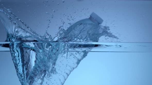 Thumbnail for Water bottle splash in slow motion; shot on Phantom Flex 4K at 1000 fps