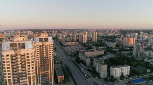 Aerial View of Skyscrapers in evening city 25