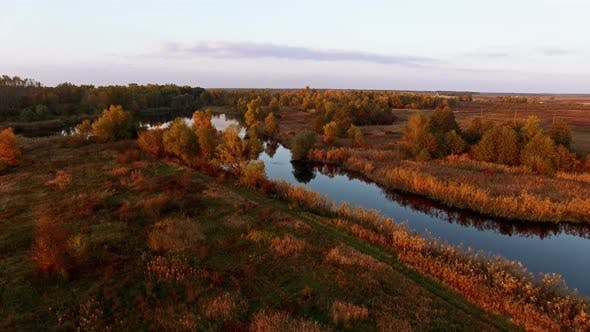 Thumbnail for Aerial View Abowe Autumn Forest With River At Sunset 1