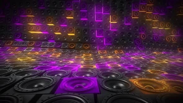 Thumbnail for Neon Colorful Random Tiled Speakers Waving Seamless Loop