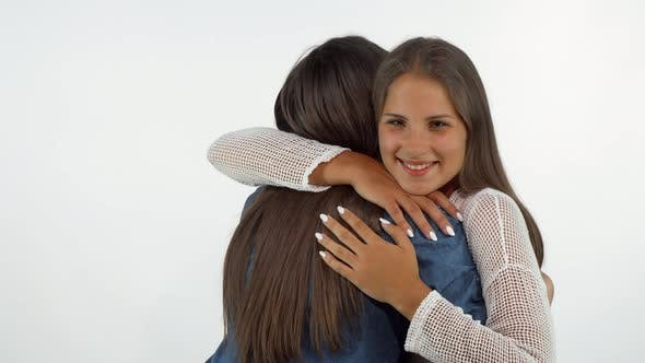 Thumbnail for Beautiful Happy Woman Smiling To the Camera Hugging Her Best Friend