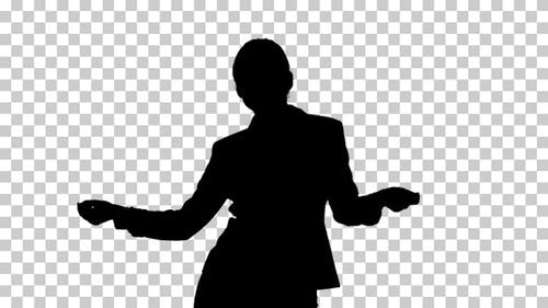 Silhouette businesswoman dancing, Alpha Channel