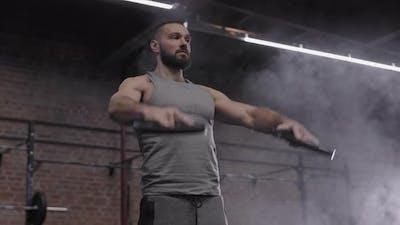 Man Having Training in Gym