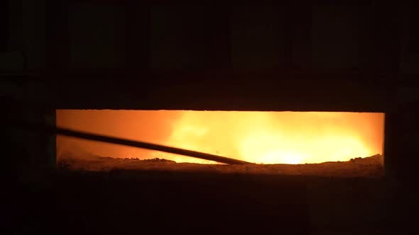 Thumbnail for Open Blast Furnace at a Steel Factory. In the Furnace, a Huge Temperature, the Metal Melted, the