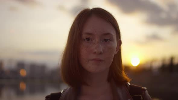 Freckled Teenage Girl at Sunset