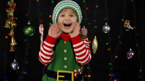 Thumbnail for Kid Girl in Christmas Elf Santa Claus Helper Costume
