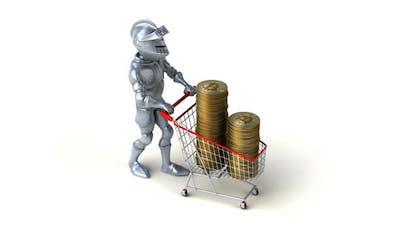 Fun 3D cartoon knight shopping with bitcoins