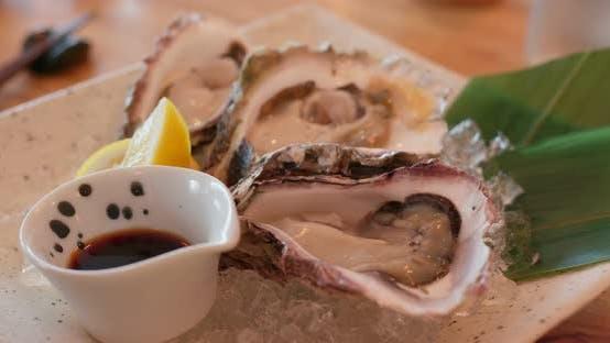 Thumbnail for Raw Fresh Oyster in Restaurant
