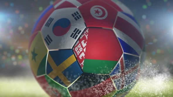 Thumbnail for Belarus Flag on a Soccer Ball - Football in Stadium