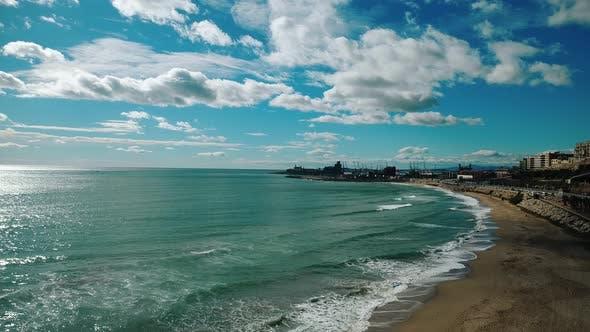 Thumbnail for Tarragona Beach By The City Aerial Footage