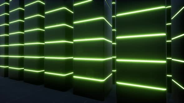 Green Neon Led Modern Technology Information Concept Big Data Storage Green Neon Connection Web Vr