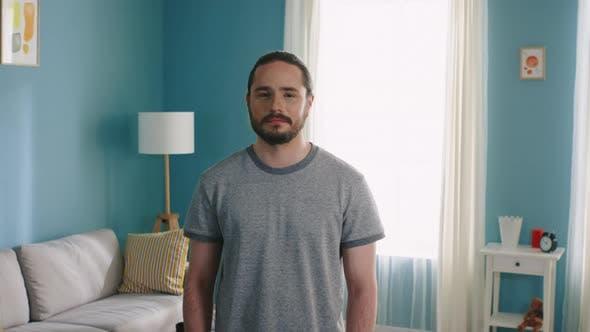 Portrait of Man in Grey T-Shirt