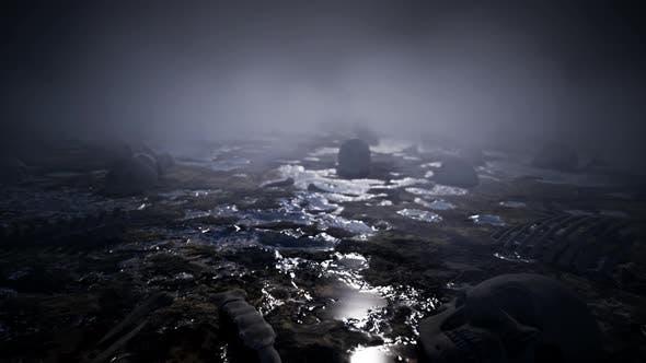 Foggy Night Ground With Human Bones 4K 01