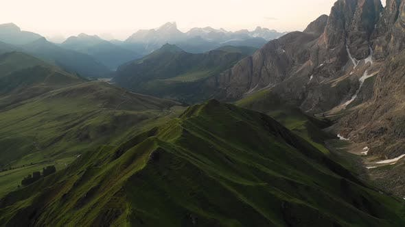 Thumbnail for Aerial video of the sunrise in the Dolomites mountains