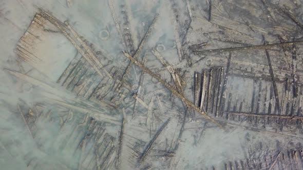 Aerial view shipwreck broken bridge at sea