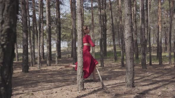 Thumbnail for Skill Graceful Woman in Red Dress Dancing in the Forest Landscape. Beautiful Contemporary Dancer