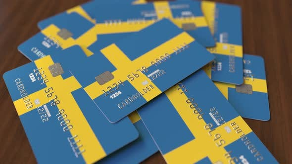 Cover Image for Pile of Credit Cards with Flag of Sweden