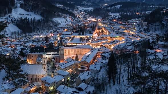 Thumbnail for Night Aerial Hyperlapse of Berchtesgaden at Winter, Bavaria.