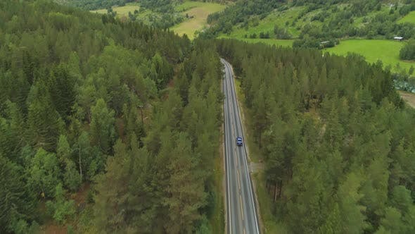 Thumbnail for Blue Car Is Going on Straight Road in Green Forest in Norway in Summer Day