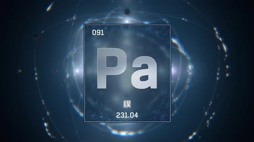 Protactinium as Element 91 of the Periodic Table on Blue Background in Chinese Language