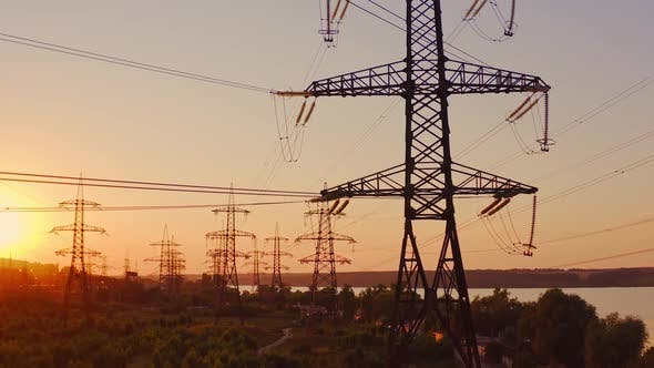 Transmission lines near the river