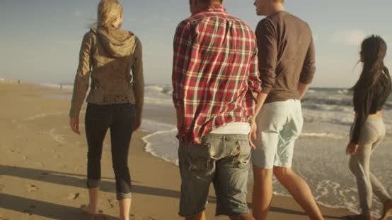 Thumbnail for Group of friends walking along the shore