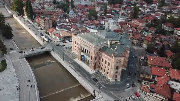 View At City Hall In Old Town Center Of Sarajevo V3