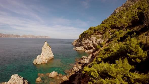 Thumbnail for Flying Over Atlantic Ocean Coast Nature Landscape
