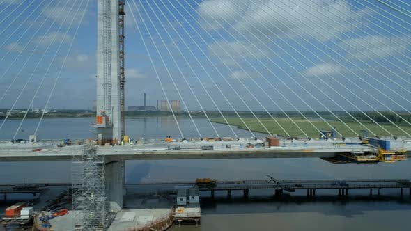 Low Horizontal View of a Cable Stayed Bridge in the Late Construction Phase