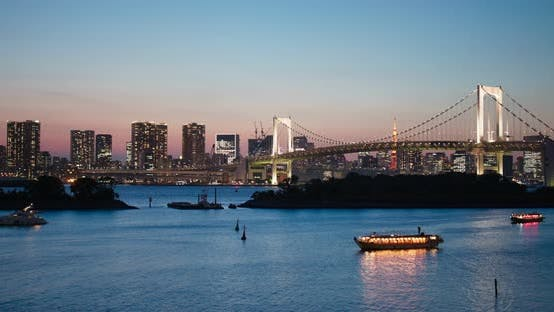 Cover Image for Odaiba city skyline in the evening