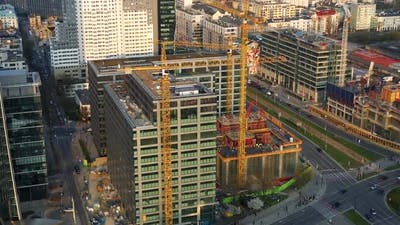 Aerial View of Construction Cranes and Building Construction in the Center of Warsaw Poland