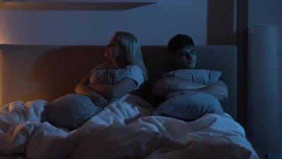 Couple Quarrel Love Partners Ignoring Bed Night