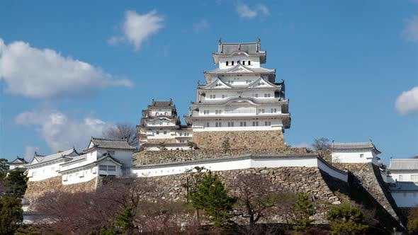 Thumbnail for Himeji Castle Complex on Hill at Sunlight Timelapse