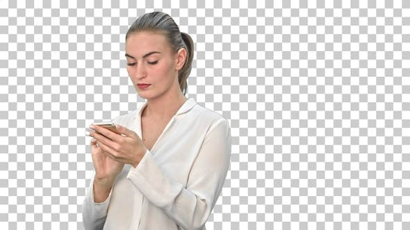 Thumbnail for Pensive business woman using mobile cell, Alpha Channel